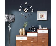 FEITONG Espejo DIY del reloj de pared 3D de superficies Reloj pegatina Home Office Decor (plata)