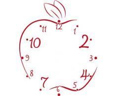 Vinilo de pared: Decoración de pared con reloj manzana Para la cocina (reloj=Plata cepillada//Color=031 Rojo)