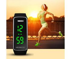Sannysis® Silicona LED Deporte pulsera táctil reloj de pulsera digital (Negro)