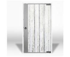 Botiquín con puerta de cristal y diseño: blanco con tablones de madera josefsteiner