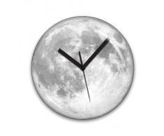 Kikerland Moonlight Clock Luna - Reloj de pared con luz (plástico, funciona con 1 pila AA)