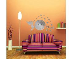 Bluelover BRICOLAJE pared calcomanía acrílico corazón espejo pared reloj casa habitación oficina decoración-plata