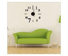 Ularma 2016 Mini DIY 3D Sticker diseño de casa moderna y reloj de pared de habitación de oficina (negro)