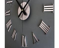 FEITONG Reloj de lujo de bricolaje pared 3D Superficie de gran tamaño la decoración del hogar del arte del reloj (silver)
