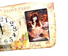 RELOJ DE ESCRITORIO DESIGN PARIS CON MARCO DE FOTOS SHABBY NOSTALGIA - Tinas Collection