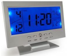 Charmante reloj de mesa con gran pantalla LCD retroiluminada por LED con control de voz, temperatura y huso horario Mondial Mod. 8082