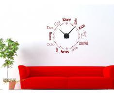 Vinilo de pared: Decoración de pared con reloj número internacional Para el salón la oficina (reloj=Plata cepillada//Color=030 Rojo oscuro)