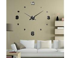FEITONG Lujo 3D de bricolaje grande de la pared del reloj La superficie del espejo pegatina Home Office Decor (Negro)