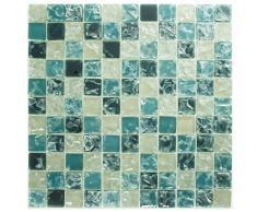 1 tapete de azulejos de mosaico de vidrio mosaico de vidrio de color azul claro-oscuro 30x30 Beige crashy Optik