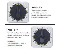 KeeQii Temporizador de cocina, Temporización de 60 minutos con alarma de 80 dB, Temporizador de imán suave para pegarse en el suprificie de hierro, Temporizador manual, Temporizador mecánico de acero inoxidable (Temporizador nuevo)