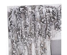 Lohoart R-188-1 - Reloj sobre lienzo pintado artesanal, reloj de pared rectangular, color Blanco y Plata, medidas: 70 X 70 cm