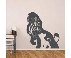 Rey león Etiqueta de la Pared Simba y Mufasa Vinilo Tatuajes de Pared Decoración de la habitación de los niños Recuerde quién Eres Cotización Arte de Pared Mural 57 * 64 cm