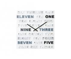 Karlsson - Reloj de pared de plástico con números en inglés, color gris