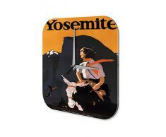 Reloj De Pared Gira Mundial Marke Yosemite montaÒas mujer en burro Plexiglas Imprimido 25x25 cm