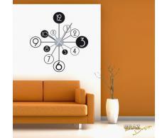Vinilo de pared: Decoración de pared con reloj cuarto de baño (reloj=Plata cepillada//Color=070 Negro)