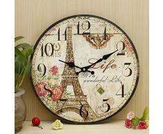 Bluelover Zakka rústica pared reloj Torre Eiffel Vintage Shabby Home oficina Cafe barra de la pared decoración arte 30cm regalo