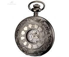 KS Reloj de Bolsillo, Mecánico, Analógico, Caja Plateada KSP030