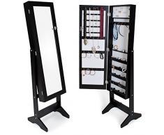 TecTake Espejo joyero espejo guarda joyas organizador espejo de pie pendientes - disponible en diferentes colores - (Negro)