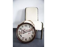 Metal Reloj de pared con cristal vintage diseño café Atlantique con cordón rotbraun lacado aprox. Diámetro 48 cm