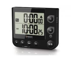 Oregon Scientific TW331_BK - Cronómetro / Temporizador de cocina con reloj y alerta LED, negro