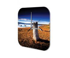 Reloj De Pared Gira Mundial playa TocÛn Plexiglas Imprimido 25x25 cm