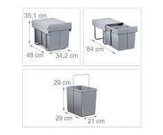 Relaxdays - instalación de separación de residuos, HxWxD: 35,1 x 34,2 x 48 cm, 2 x 15 L, Papelera, extraíble, plástico, Metal, Gris, 34,2 x 48 x 35.1 cm