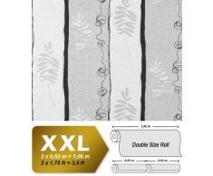 Papel pintado no tejido XXL diseño rayas anchas y dibujo floral EDEM 685-96 hojas antracita gris blanco 10,65 m2