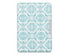 kwmobile Elegante funda de cuero sintético para el Amazon Kindle Paperwhite en Diseño baldosa barroca azul claro blanco con un práctico cierre magnético