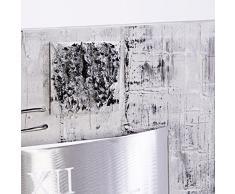 Lohoart R-183-1 - Reloj sobre lienzo pintado artesanal, reloj de pared rectangular, color Plata, medidas: 70 X 70 cm