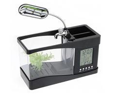 Escritorio Mini acuario pecera w / USB LCD temporizador reloj LED lámpara luz negra