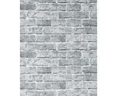 EDEM 583-26 Papel pintado con efecto muro de ladrillos con imitación piedra stones y diseño rústico en city gris