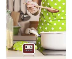 Mudder Pack 2 Magnético Alarma Digital Temporizador de Cocina,Temporizador de Cocina Digital,Imán de Temporizador de Cocina con Alarma, Rojo Oscuro