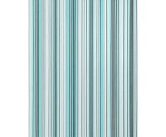 Papel pintado diseño a rayas suntuosas EDEM 097-22 moderno y precioso turquesa azul gris blanco plata negro 5,33 m2
