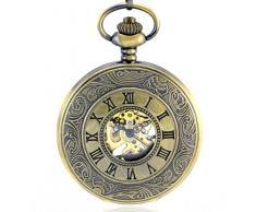 Stayoung Steampunk Antiguo Bronce Números Arábigos Cuerda Manual Reloj de Bolsillo Mecánico Colgante Cadena Estilo Romano Alta Calidad