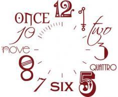 Vinilo de pared: Decoración de pared con reloj número internacional Para el salón la oficina (reloj=Negro//Color=030 Rojo oscuro)
