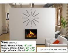 "Reloj Binario fondo adhesivo de pared, Blanco, Small: 45cm x 45cm / 18"" x 18"""