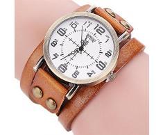 Reloje Mujeres Hombres,Xinan Vintage Reloj de Pulsera de Cuero Artificial (Café)