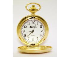 Ravel - Reloj de bolsillo con cadena y tapa, color dorado