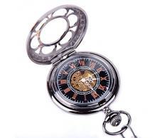 Reloj Esqueleto de Bolsillo con Esfera Negra de ShoppeWatch PWMSK19