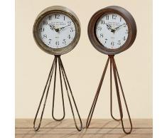Reloj Leeds metal Reloj de pie en Shabby Retro Diseño, metal, marrón rojizo, 16*43cm