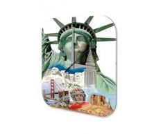 Reloj De Pared Gira Mundial Marke EE.UU. Estatua de la Libertad Monte Rushmore Plexiglas Imprimido 25x25 cm