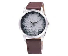 Relojes Mujer,Xinan Moda Flor PU Cuero Analógico Cuarzo Reloj de Pulsera (Café)