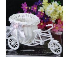 Mimbre Hecho A Mano De La Flor De Tres Ruedas Canasta De La Bicicleta Para La Decoración De Almacenamiento Florero - Rosa Blanca