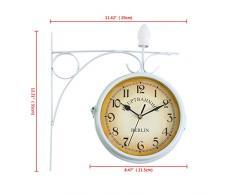 Ridgeyard de doble cara reloj de pared de hogar jardín interior estación fuera de soporte (Blanco)