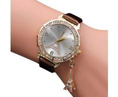 Longra Reloj ♥lujo mujeres cuarzo Torre Eiffel rhinestone colgante de metal cepillado reloj de pulsera (café)