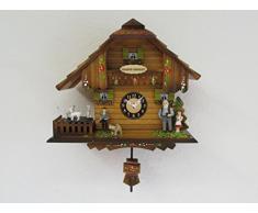 Reloj de péndulo con mecanismo de cuarzo. Bosque Negro Alemán Heidi's Chalet, con llamada de cuco y carillón Westminster, pintado a mano. Con cabras que giran en placa giratoria 18cm/7pulgadas.