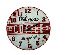 Reloj de pared de metal Retro Delicious Coffee rojo 40 cm