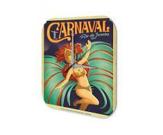 Reloj De Pared Gira Mundial Marke Carnaval de RÌo de Janeiro Mujer disfrazada tocado de plumas Plexiglas Imprimido 25x25 cm