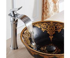 Acabado Cromo Cuarto de baño moderno de la manera alto del lavabo del grifo de la cascada del fregadero grifo sola manija grifos de lavabos sobre encimera generalizada