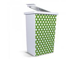banjado - Papelera cubo de basura de diseño 42 litros con diseño de lunares verde